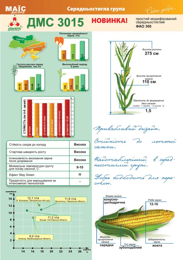 Семена кукурузы ДМС 3015 (ФАО 300)